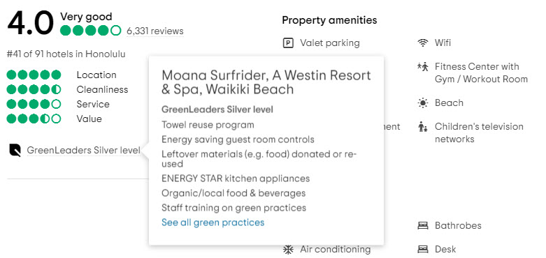 Eco Friendly Tips - TripAdvisor Green Leader Hotel Example