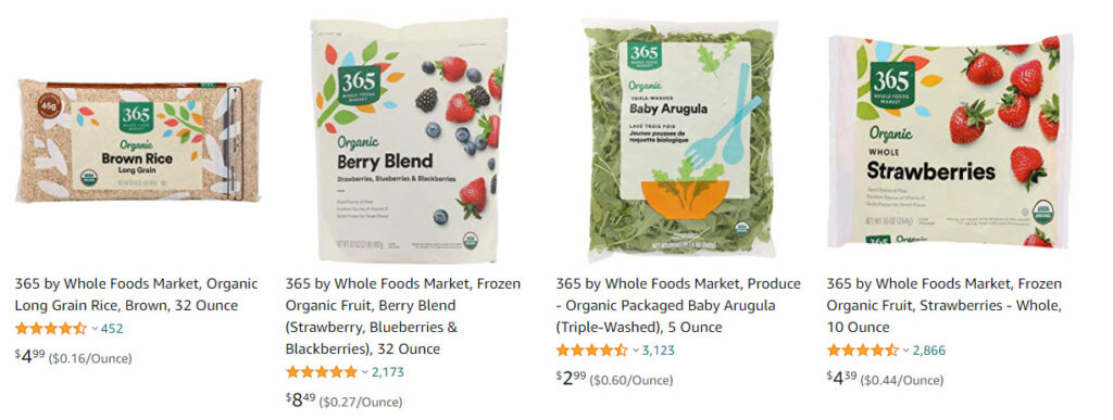 Whole Foods 365 Brand Organic Products